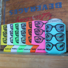 80s sunglasses design beer can koozies customized for weddings or tailgate parties