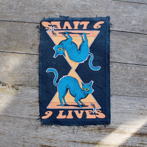 9 Lives Cat jacket patch punk fashion blue cat canvas denim