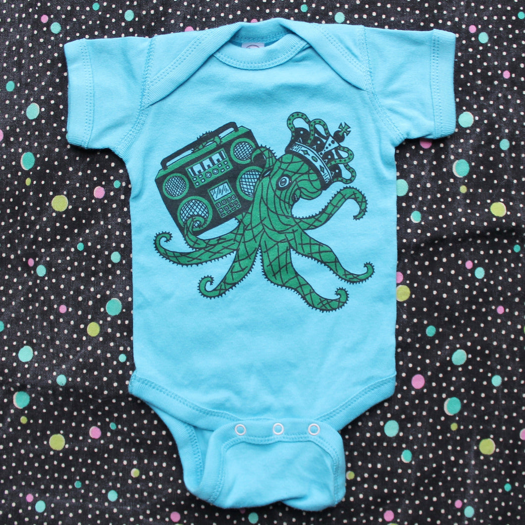 Funny Octopus Onesie baby one piece jumper boom box