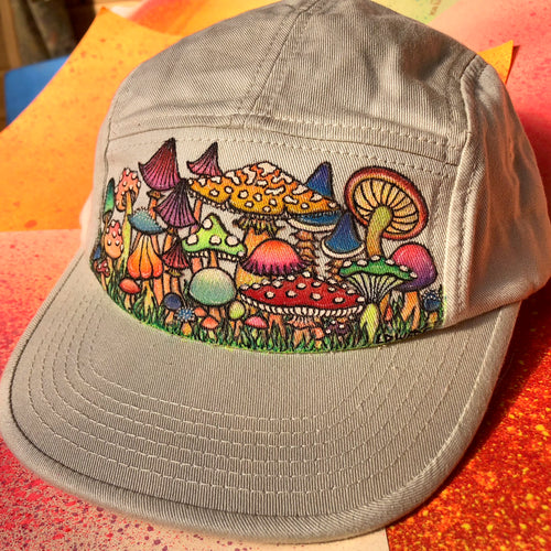 Hand painted mushroom hat for sale Alternative Apparel Outdoorsman hat 5 panel camper trucker lid with art by Lauren Dalrymple Wade