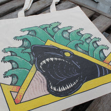 Natas Shark reusable canvas tote bag - RadCakes Shirt Printing