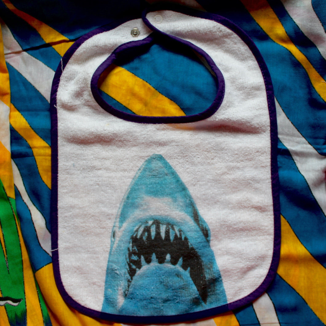 jaws shark movie poster baby bib funny by radcakes printing