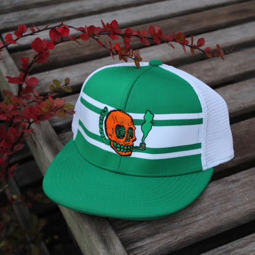 NJ Skull mesh baseball hat (KELLY GREEN) - RadCakes Shirt Printing
