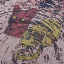 Punk street art shirt for sale with pink cat and yellow skull artwork