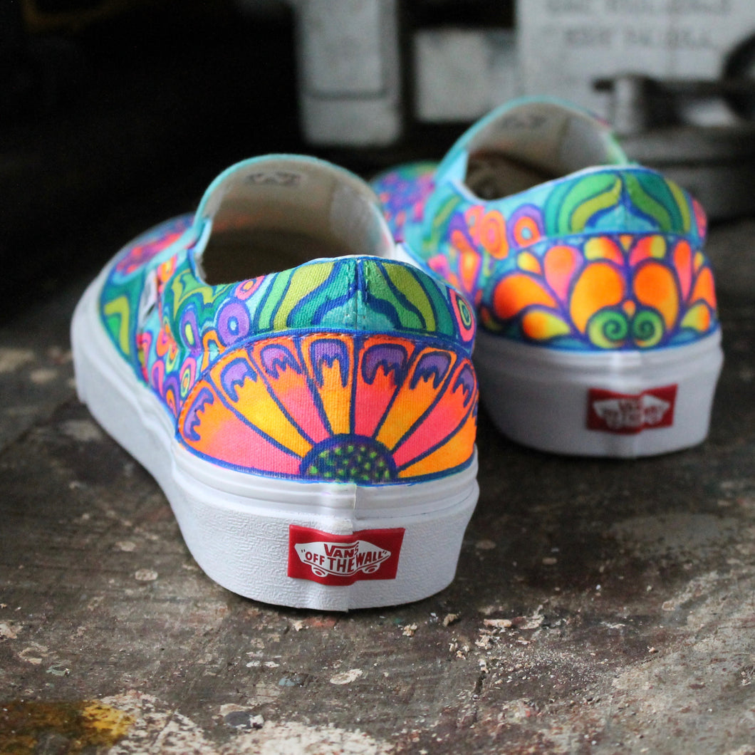 Psychedelic Flowers custom Vans Slip On Sneakers – RadCakes
