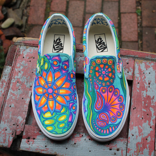 Psychedelic Flowers custom Vans Slip On Sneakers - RadCakes Shirt Printing