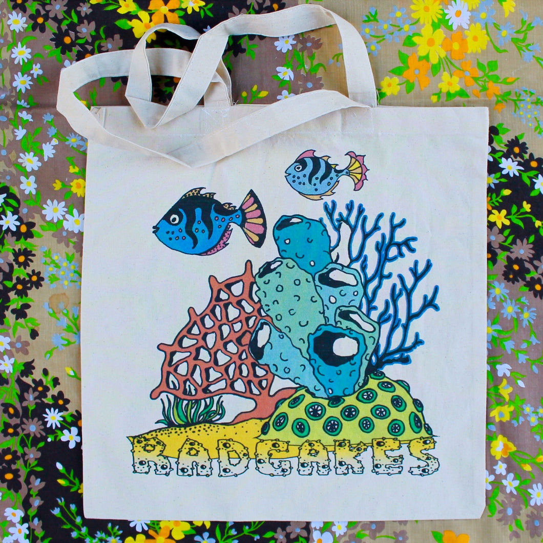 Coral Reef reusable canvas tote bag - RadCakes Shirt Printing