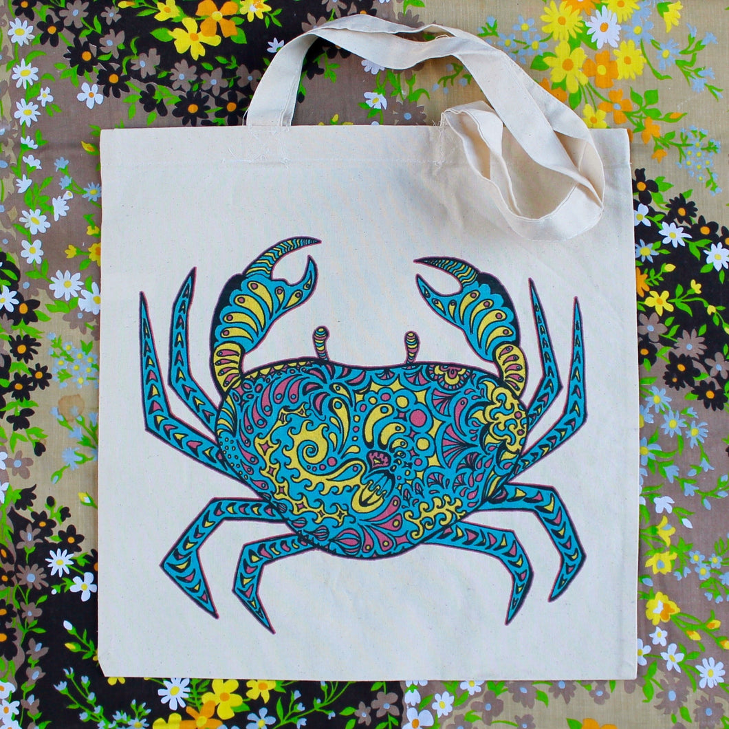 Patterned Crab reusable canvas tote bag - RadCakes Shirt Printing