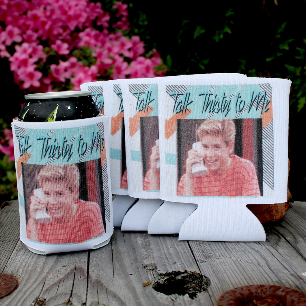 talk thirty to me koozies with zack morris from saved by the bell 80's beer koozie