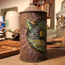 Original Cat artwork on an old oil can - RadCakes Shirt Printing