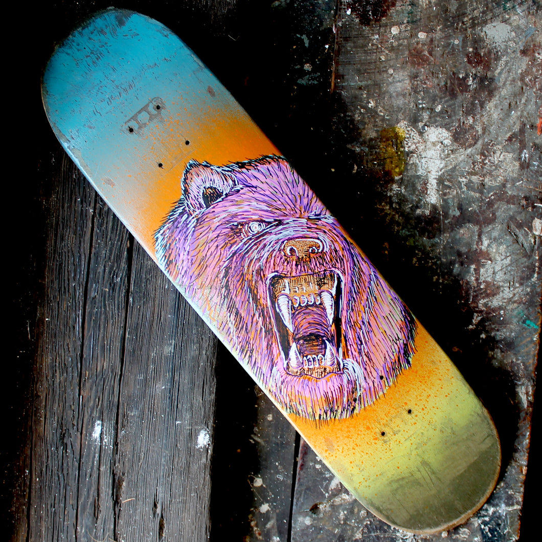 Grizzly Bear Skateboard Deck original artwork - RadCakes Shirt Printing