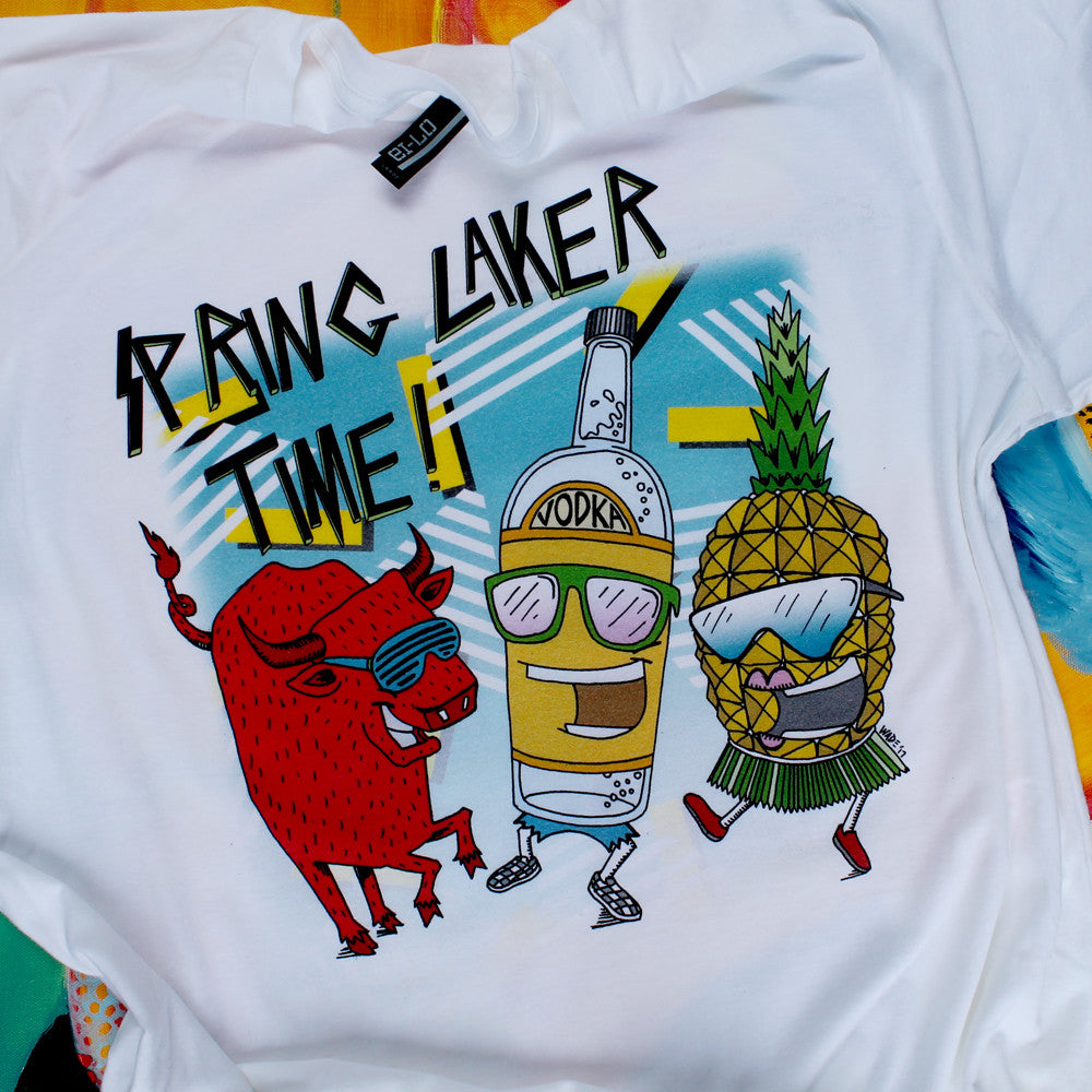 parker house spring laker shirt red bull vodka pineapple cartoon tshirt by RadCakes