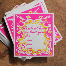 Vintage Ornate Pink & Gold invitation card