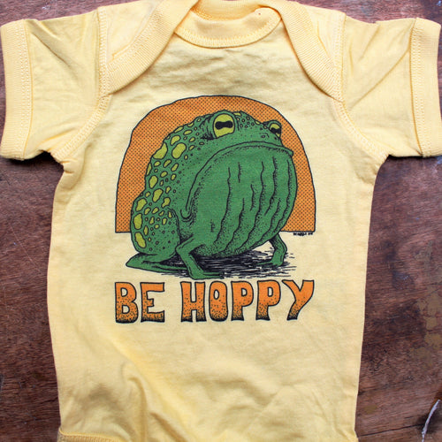 Be Hoppy onesie baby one piece frog toad cute DONT WORRY BE HAPPY