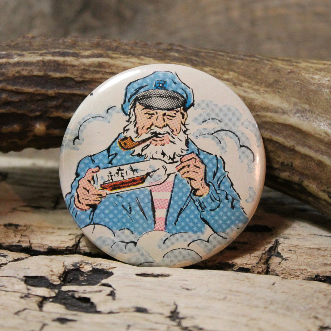 old sea captain pinback button for sale ship in a bottle art design
