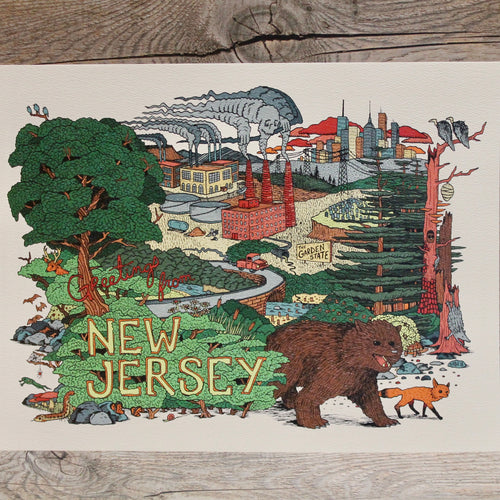 Greetings from New Jersey postcard Original art by Ryan Wade RAD WAYNE Radcakes NJ art for sale