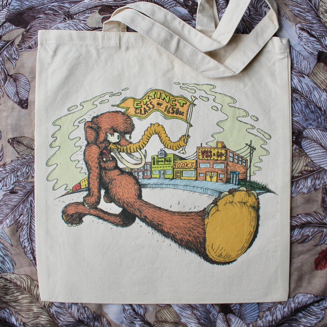 wooly mammoth art tote bag design keep on trucking style r crumb