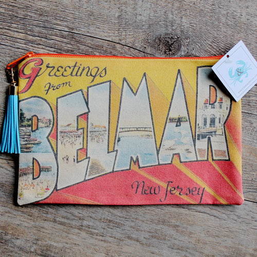 BELMAR NJ bag vintage postcard Greetings From clutch purse for sale New Jersey design