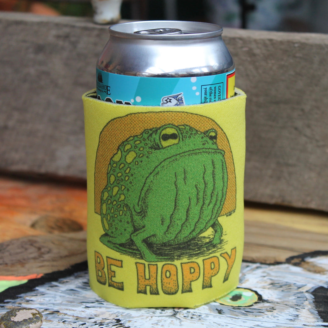 Funny Don't Worry Be Hoppy beer koozie can frog art design micro brew