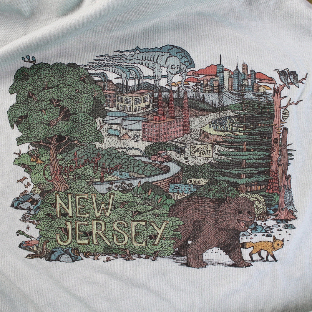 greetings from new jersey art design shirt for sale by radcakes manasquan nj