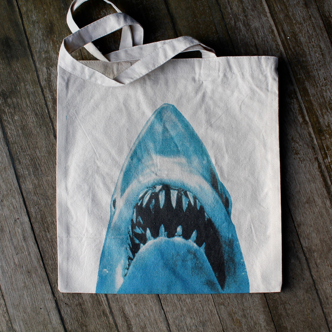 JAWS movie poster tote bag canvas Great White Shark design art