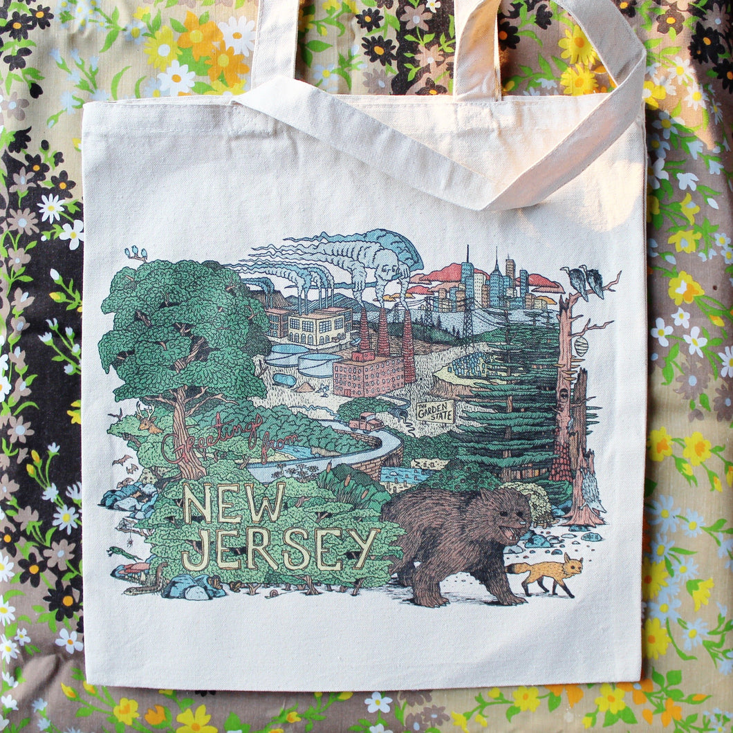 Greetings from New Jersey tote bag for sale with NJ wildlife cartoon illustration reusable