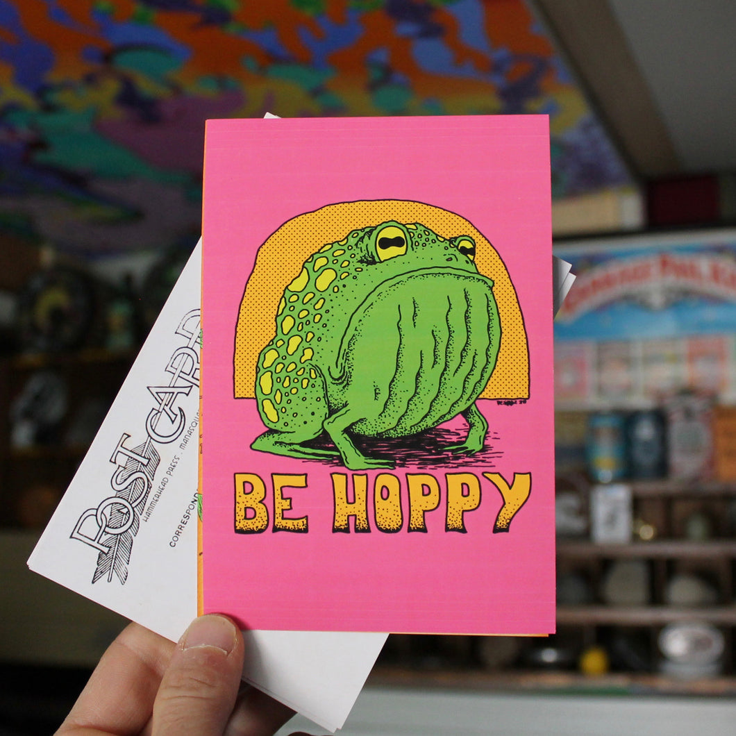 Be Hoppy postcard funny frog retro colors