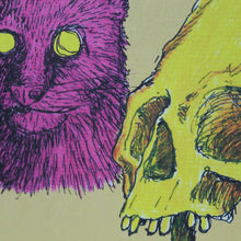 Pink Cat & Gorilla Skull art card