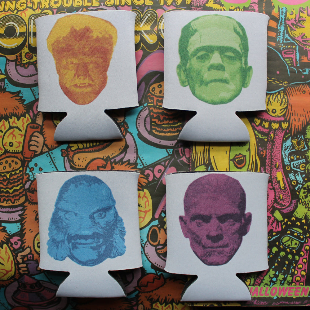 Universal Monsters koozie set Wolfman Mummy Frankenstein Gill Man Halloween party gift beer