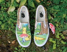 oregon nature scene Custom Vans with a banana slug and mushroom