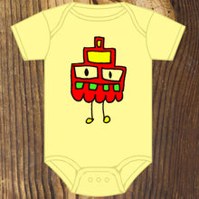 Cute little geometric monster baby onesie by RadCakes