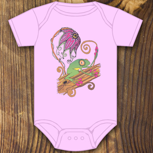Cute baby tree frog baby onesie design by RadCakes printing Rabbit Skins