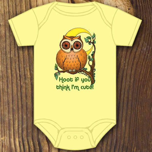 Funny baby shower gift hoot if you think i'm cute baby onesie owl design by RadCakes printing Rabbit Skins