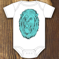 Blue lion head baby onesie design by RadCakes Rabbit Skins