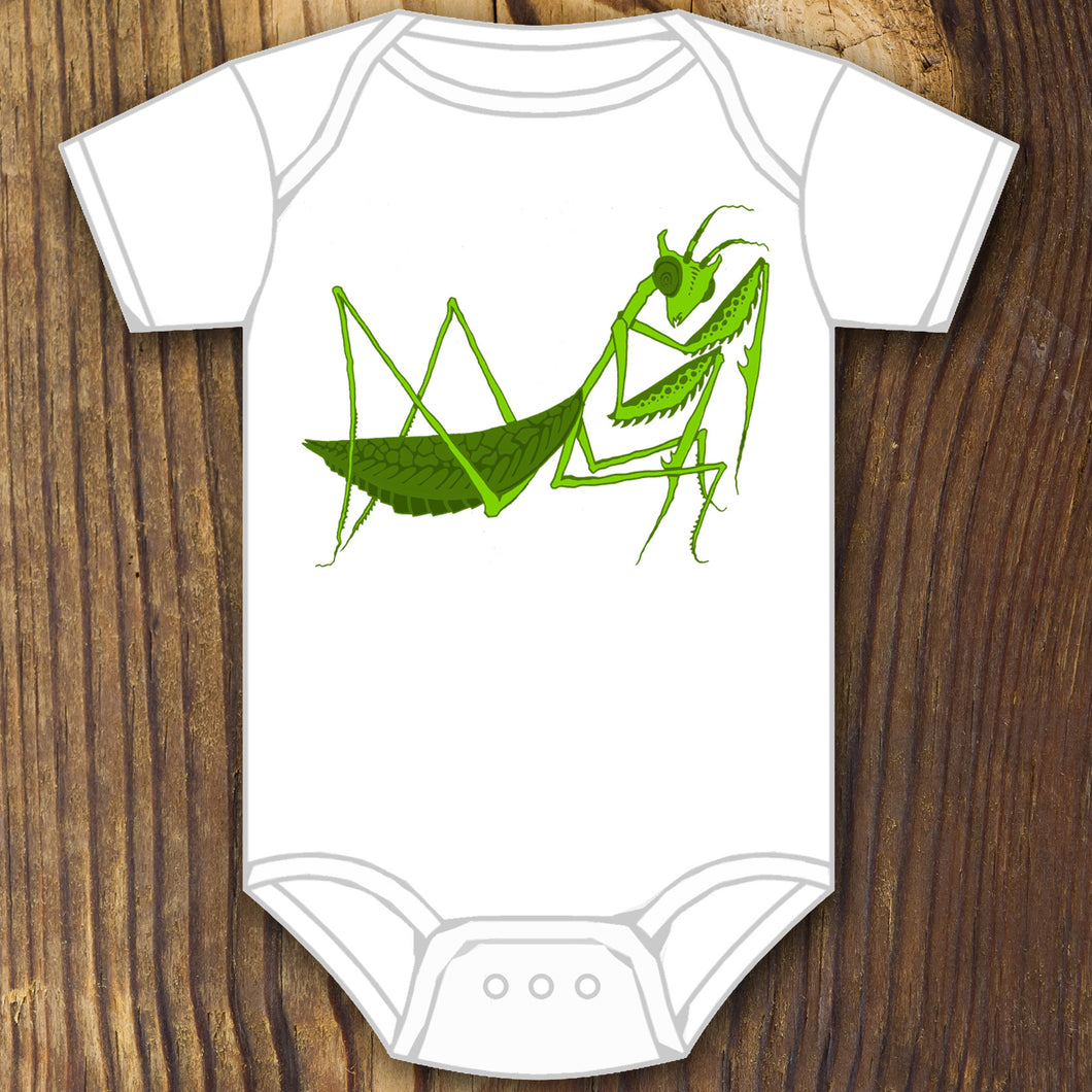 green insect praying mantis baby onesie design by RadCakes printing Rabbit Skins