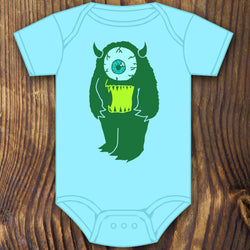 Cute funny cyclops monster baby onesie design by RadCakes printing Rabbit Skins
