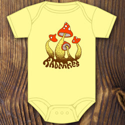 cute hippy mushroom baby onesie design by RadCakes printing Rabbit Skins
