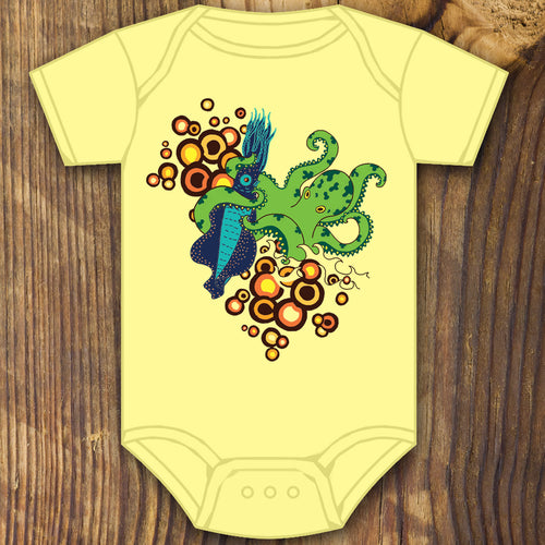 Squid and Octopus fight baby onesie design by RadCakes printing Rabbit Skins