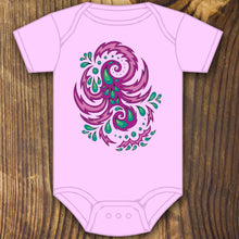 Pink and purple trippy art baby onesie design by RadCakes printing Rabbit Skins