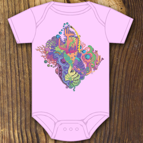 Trippy psychedelic baby onesie design by RadCakes printing Rabbit Skins