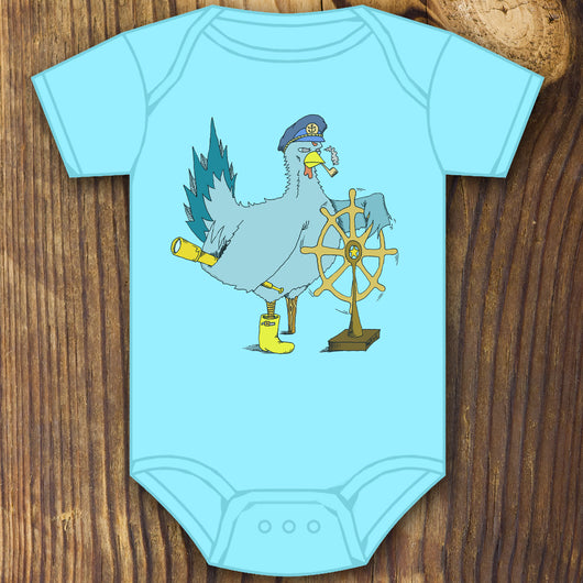 Funny Boat captain chicken baby onesie design by RadCakes printing Rabbit Skins