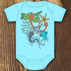 Underwater sea creature scuba dive baby onesie design by RadCakes printing Rabbit Skins