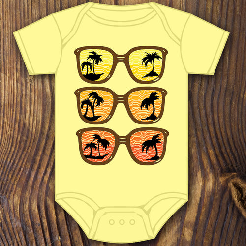 funny baby shower gift sunglass baby onesie design by RadCakes printing Rabbit Skins