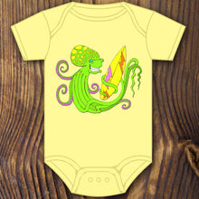 funny cute surfing octopus baby onesie design by RadCakes printing Rabbit Skins