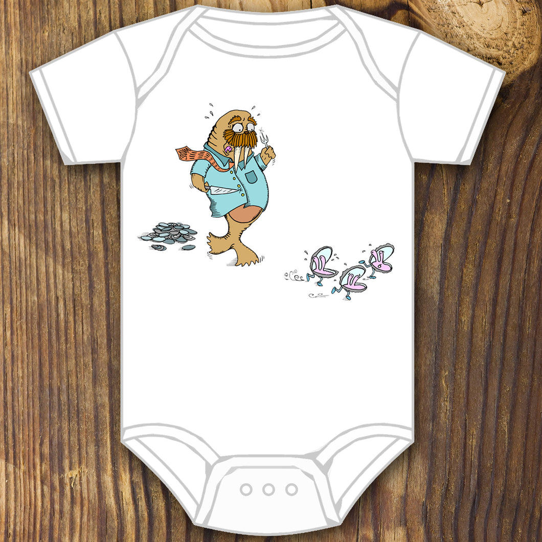 funny cute walrus chasing oyster baby onesie design by RadCakes printing Rabbit Skins