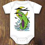 Green zombie shark baby onesie design by RadCakes printing Rabbit Skins