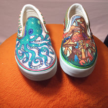 Octopus and mushroom custom designed Vans classic slip on shoes