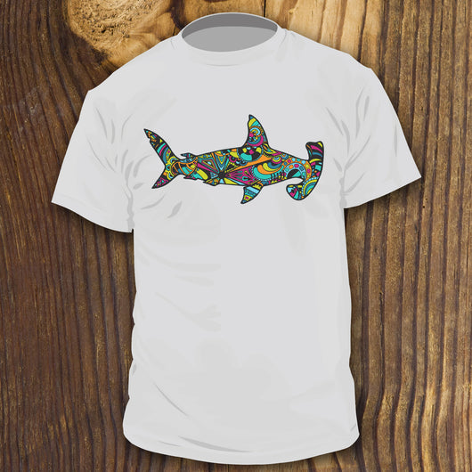 Colorful hammerhead shark shirt design by RadCakes Shirts