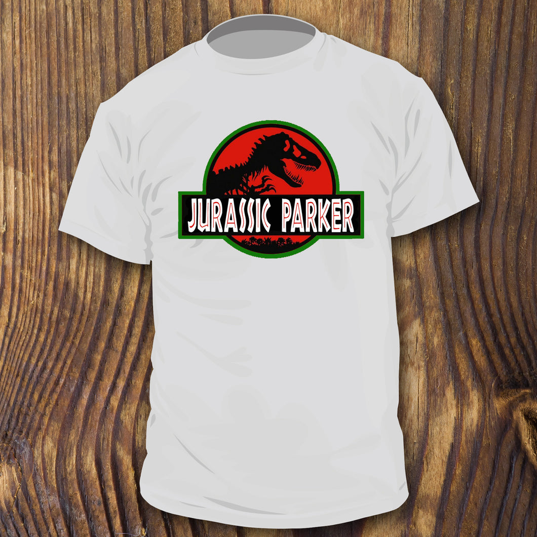 Funny Parker House shirt design by RadCakes Shirts Jurassic Park poster spoof NJ
