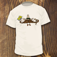 Funny mustache cowboy shirt design by RadCakes Shirts drinking a beer